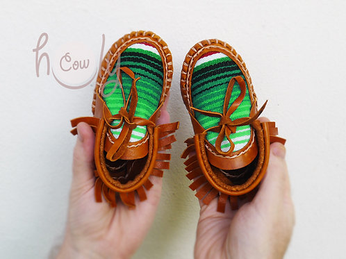 Brown Leather Baby Serape Moccasins