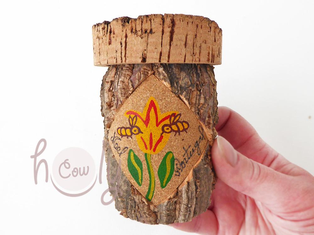 Handmade cork and glass honey jar