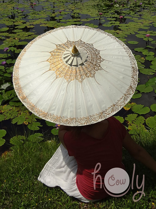 White Waterproof Parasol / Umbrella