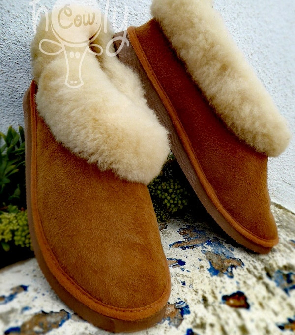 Cozy And Very Warm Handmade Brown Sheepskin Slippers