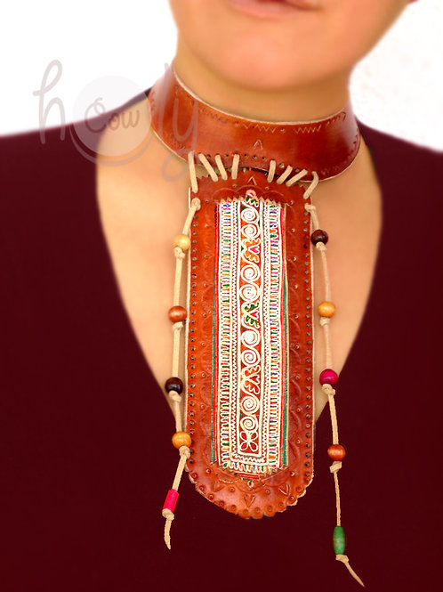 Necklace With Unique Vintage Tribal Fabric