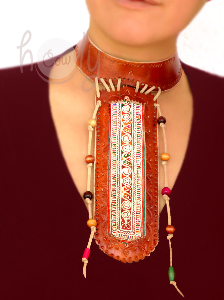Handmade Long Leather Choker Necklace With Hand Embroidered Vintage Tribal Fabric
