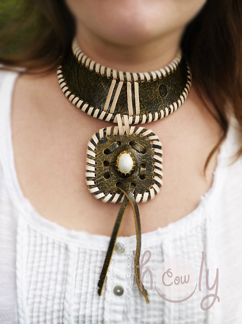 Medieval Green Leather Necklace
