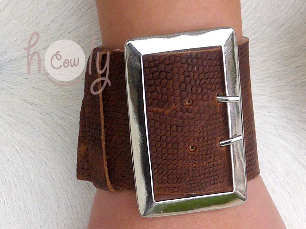 Large Brown Leather Buckle Bracelet