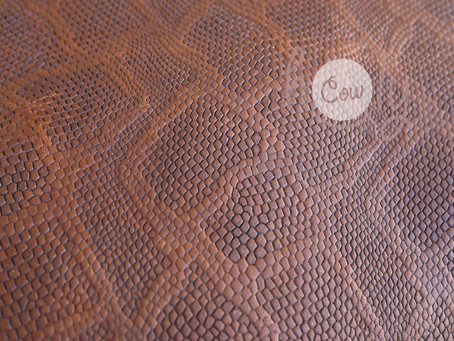 New Excellent Brown Cow Leather With Snake Print