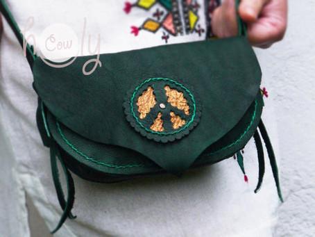 Unique Peace Turquoise Leather Shoulder Bag