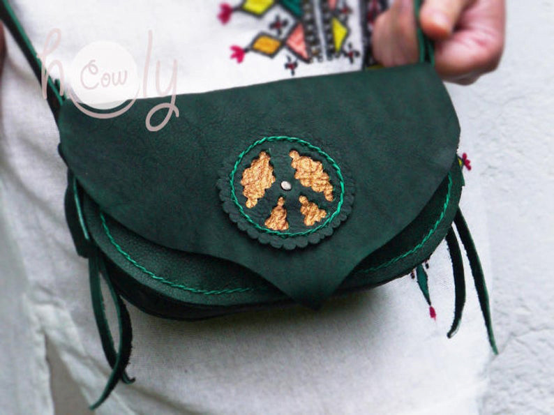 Peace Turquoise Leather Shoulder Bag