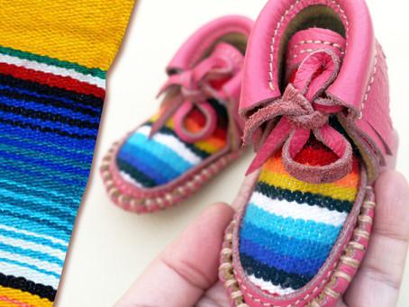 Serape Madness! Handmade Pink Leather Serape Baby Boots