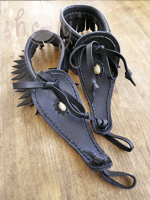 Black Barefoot Leather Sandals