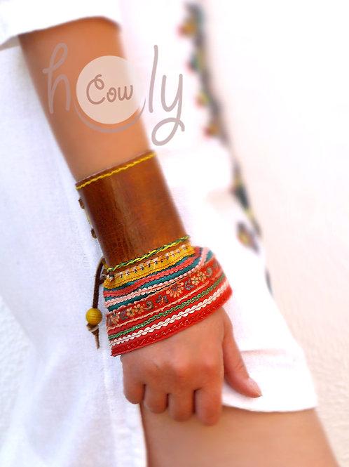 Brown Leather Boho Tribal Bracelet