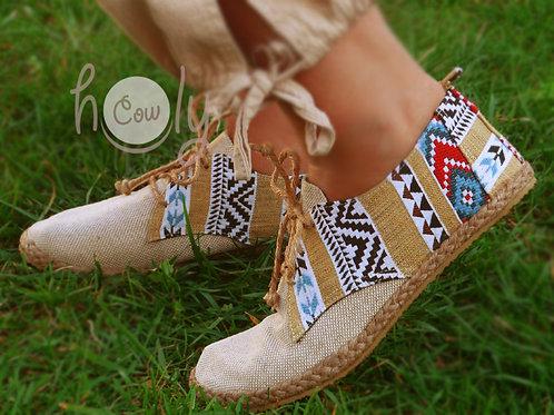 Beige Tribal Vegan Shoes