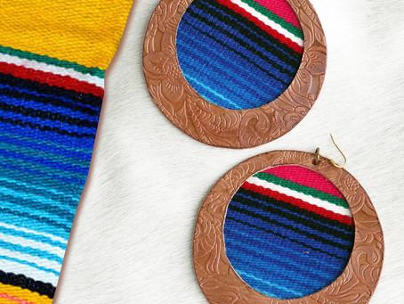 SALE! Large Tan Leather Serape Earrings