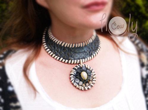 Beautiful Leather Gemstone Necklace