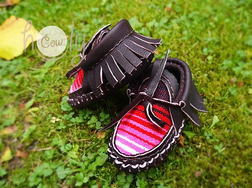 Dark Brown Baby Serape Moccasins