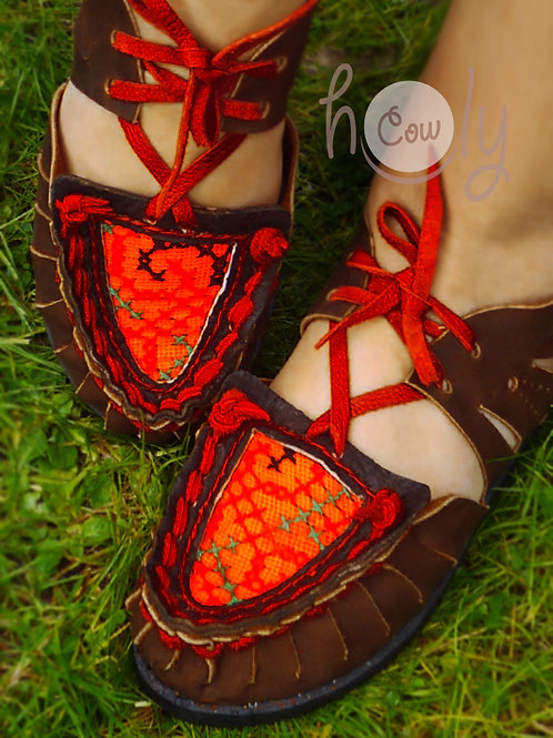 Brown & Red Leather Sandals