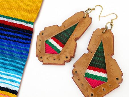Serape SALE! Brown Leather Serape Earrings