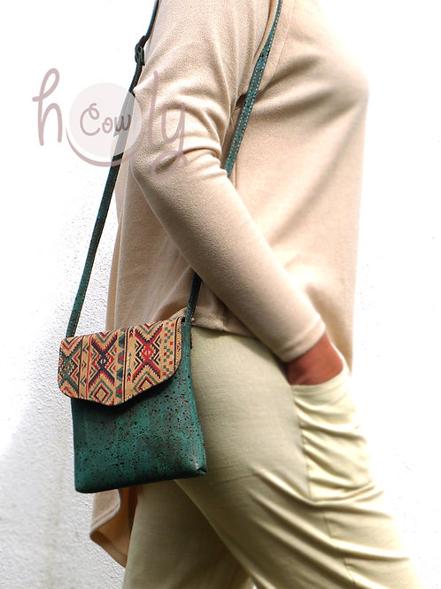 Turquoise Vegan Cork Shoulder Bag