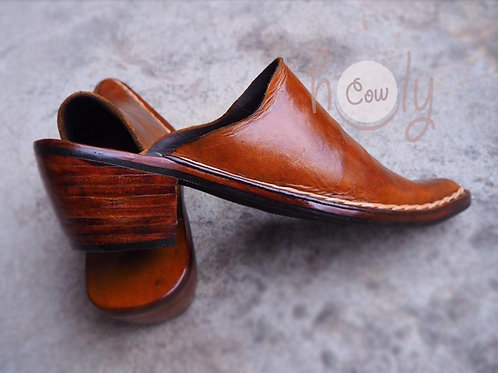 Hand Stitched Brown Leather Slip Ons