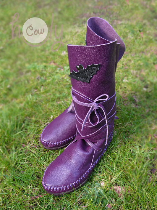 100% Handmade Funky Purple Leather Moccasins With Black Leather Bats
