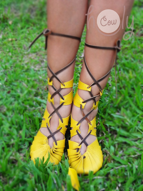 """""""Super Sexy"""" Yellow Leather Sandals"""