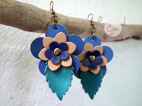 Boho Blue Flower Power Earrings