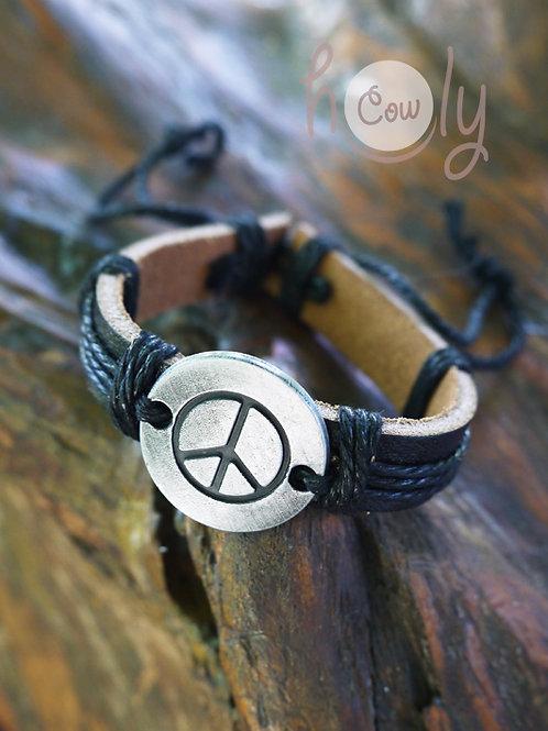 Peace & Love Black Leather Bracelet