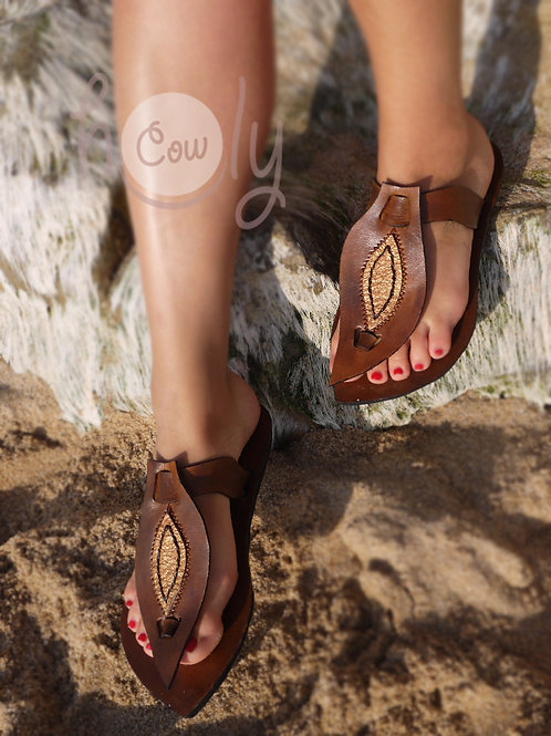 Brown & Gold Leather Sandals