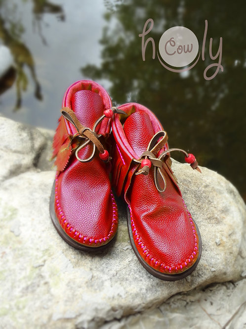 Red Leather Moccasin Boots