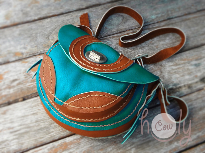 Funky Turquoise & Brown Leather Shoulder Bag