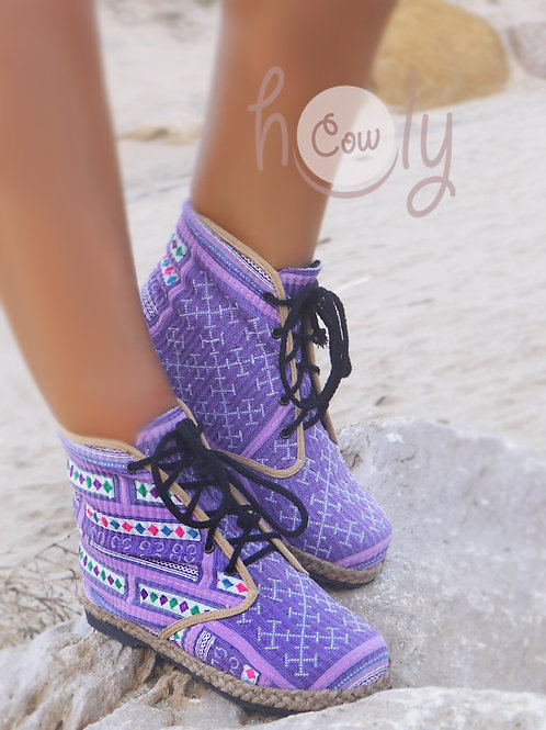 Purple Funky Vegan Ankle Boots