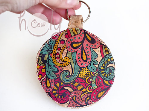 Circular Key Ring Cork Coin Purse