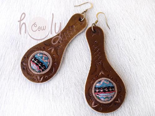 Tribal Leather Bohemian Earrings