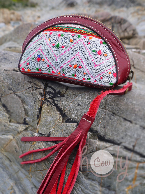 Dark Red Leather Tribal Wallet