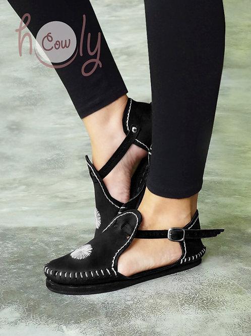 """Black Cat"" Leather Sandals"