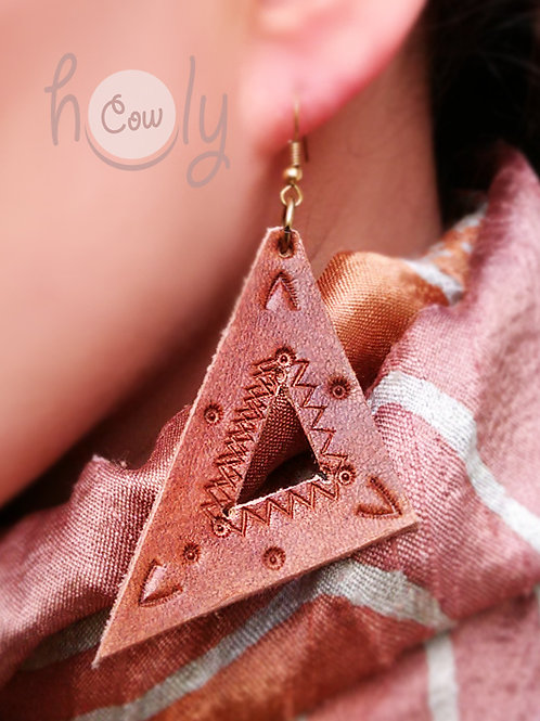 Handmade Tribal Leather Earrings
