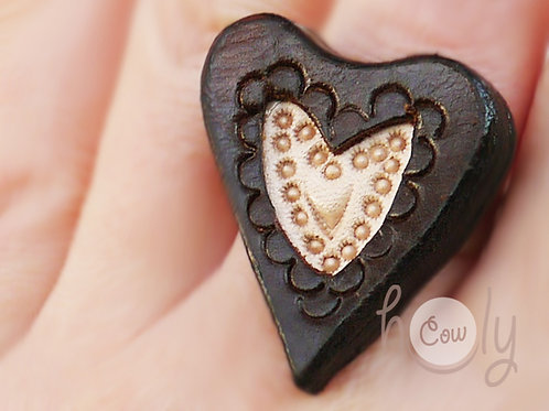 Adjustable Leather Heart Ring