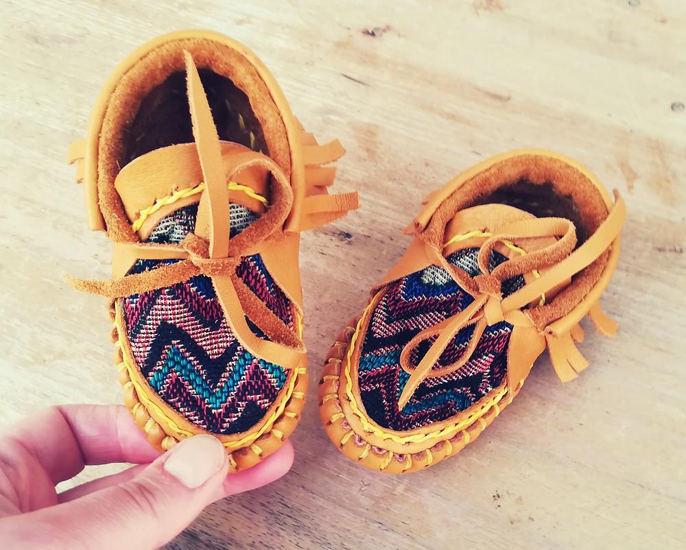 Beautiful handmade colorful baby boots
