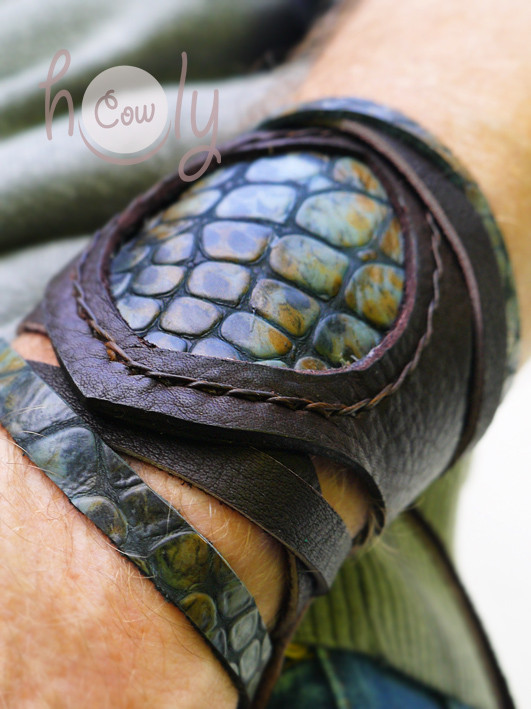 Mens Brown Leather Bracelet With Blue Leather Snake Print