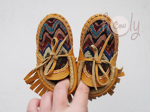 Beige Leather Baby Moccasins