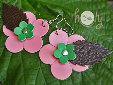 Leather Boho Chic Flower Power Hippie Earrings