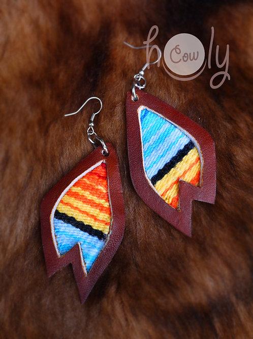 Leather Serape Hippie Earrings