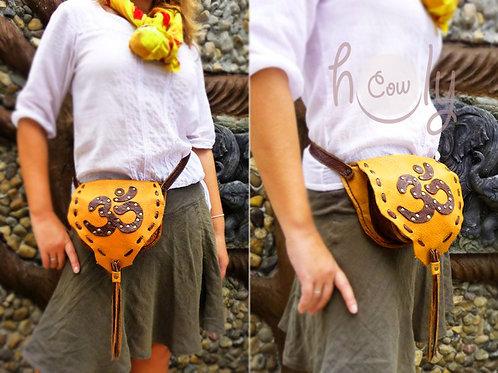 OM Orange Leather Belt Bag
