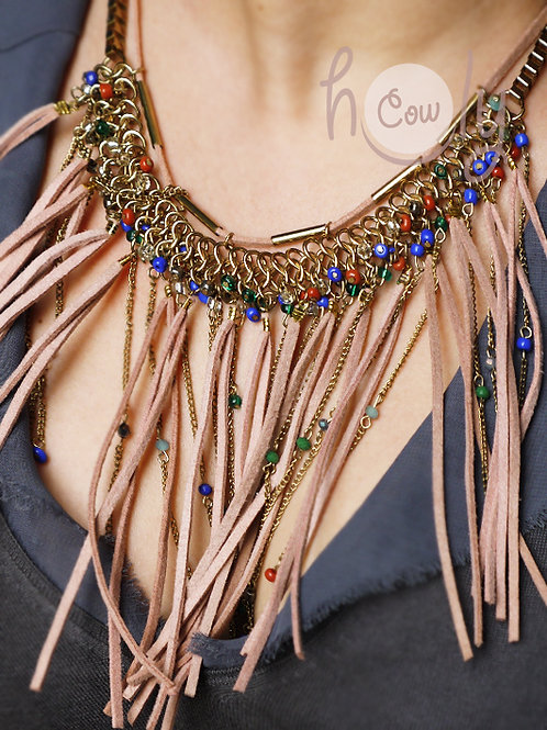 Womens Leather Boho Necklace