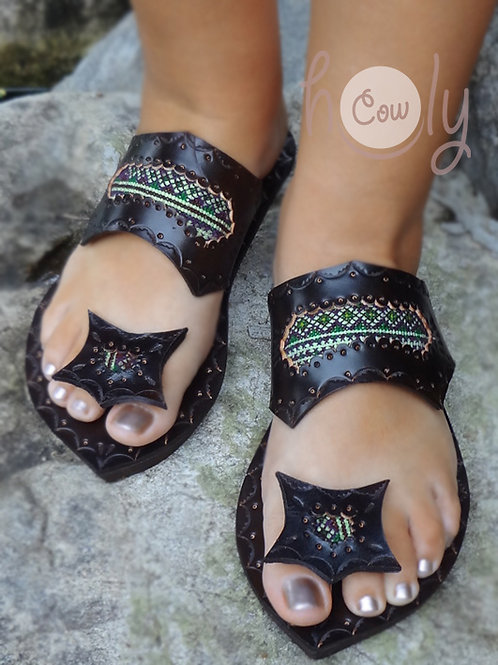 Crazy Hmong Leather Sandals