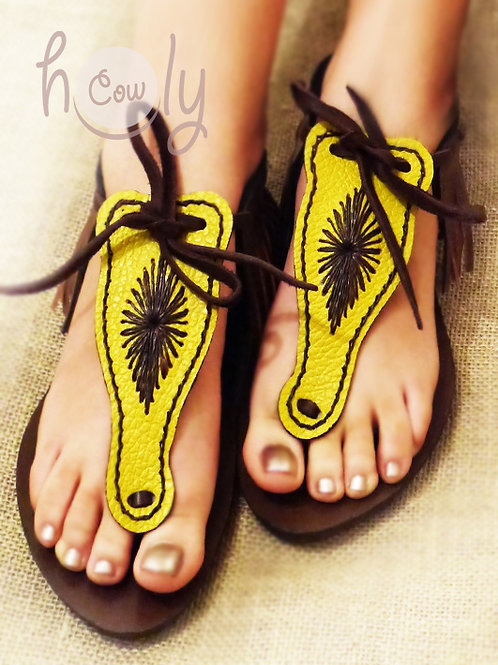 Yellow and Brown Leather Sandals