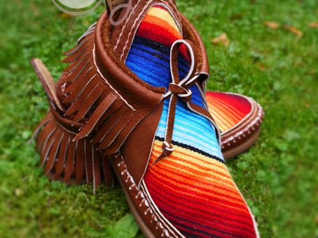 Beautiful Handmade Leather Serape Moccasin Boots