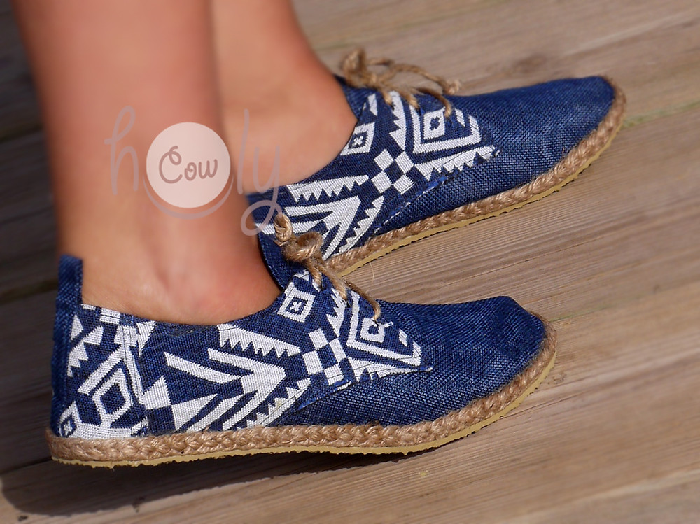 Funky Blue And White Tribal Vegan Shoes