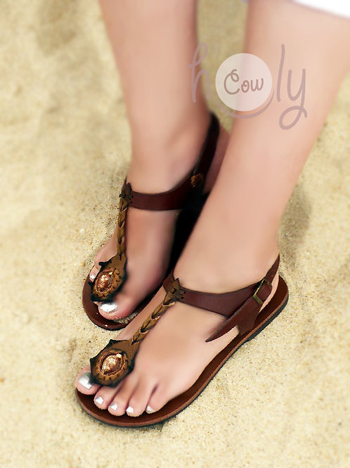 Brown Leather Shell Sandals