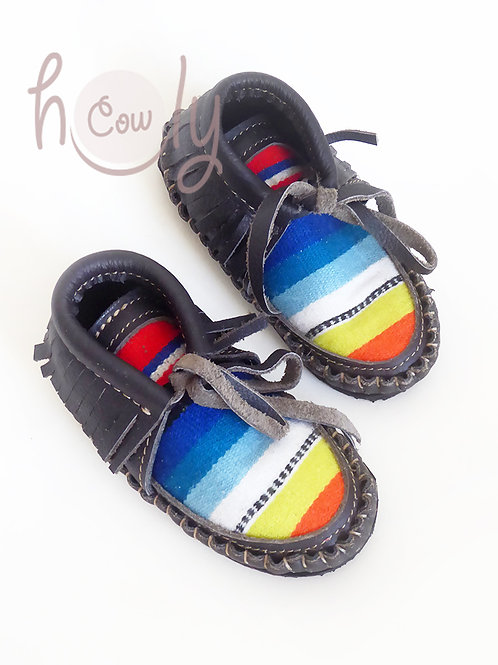 Gray Leather Baby Serape Boots