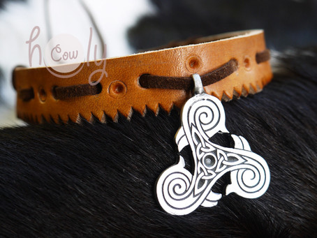 Leather Necklace With Triple Spiral Symbol